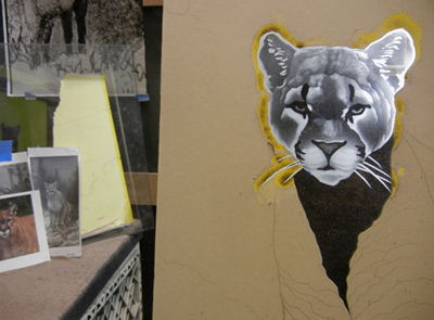 Recent cougar etching in progress (the yellow is stencil material).